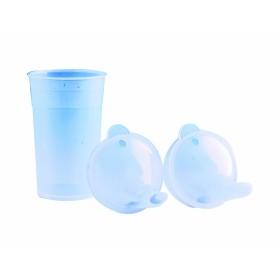 Drinkbeker met 2 lange tuitdeksels - transparant