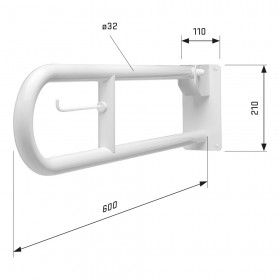 SecuCare Toiletbeugel, Wit, opklapbaar, lengte 600 mm